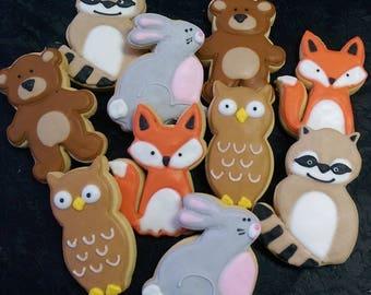Woodland Animal Cookies - Raccoon - Bear - Rabbit - Fox - Owl - 10 Cookies