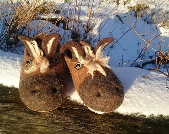 """Felted slippers""""funny donkey"""",felted clogs, donkey slippers, woolen slippers,woolen clogs, felted shoes"""