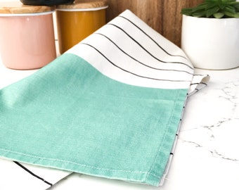Stripes with Teal Green Kitchen Tea Towel - 100% Cotton - Great for Gift or Home - Modern or Country Design