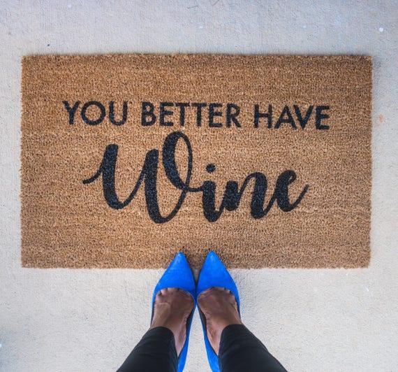 Wine doormat funny door mat cute doormat welcome mat - Front door mats as a guest greeting tool ...