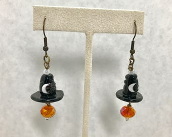 Halloween Witch Hats Lampwork Glass Dangle Earrings Doodaba