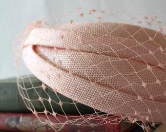 Peach Veil Netting - French Net Birdcage Material, Half or Full 1 Yard
