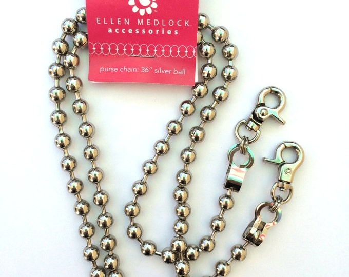 36 Inch Long Silver Ball Style Purse Chain - Bag Hardware Purse Notion Chip-On Metal Chain (#222A)