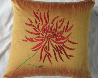 gold throw pillow with red chrysanthemum on dupioni silk embroided  luxury decorative cushion cover. Antique gold pillow 18inch custom made.