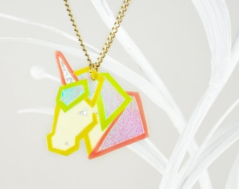 Magical Unicorn necklace & pendant // Neon unicorn glowing in the dark // pink, turquoise, green, yellow iridescent // manufactured