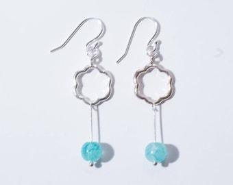 Silver Plated Flower Drop Earrings, Blue Bead Earrings, Sterling Silver Earrings
