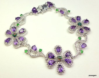SALE, Natural Amethyst,Black Opal,Tsavorite Garnet,Solid Sterling Silver Bracelet, 14k White Gold Filled, Gem Flower Bracelet,Fine Jewelry