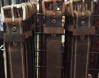 "Antique brown Buffalo hide casual belt 1.5"" wide"