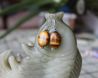 Tiger Eye Earrings, sterling silver hook