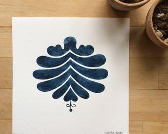 Indigo folk #6 - ORIGINAL ink painting