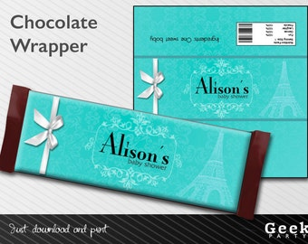 Blue Baby/Bridal Shower Chocolate Wrapper - Digital or Printed -New Baby - Birthday - Sweet Sixteen - Shower