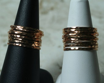 Hand hammered rose gold tone midi rings, knuckle rings, stack rings, stackable rings, stacking rings, 2 pcs (item ID SRRG)