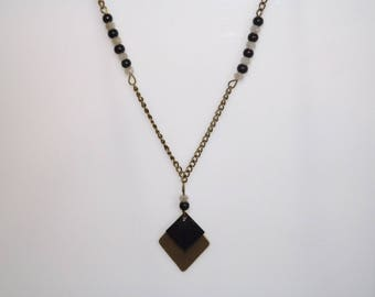 Black Diamond, antique bronze sequin enamelled, necklace, Pearl Crystal and glass