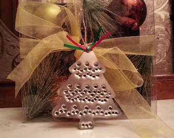 Tin Christmas Tree Ornament Old Fashioned Silver Metal Tin Punch By West Tinworks