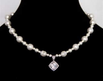Bridal Necklace - Cubic Zerconia Necklace with rare Freshwater Pearls embedded with Cubic Zerconias, Wedding Dress, Jewelry, Gift for her
