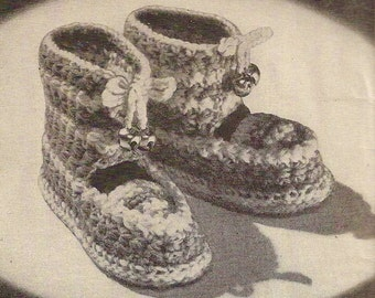 Children's Boots with Bells Vintage Crochet Pattern 412