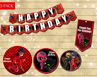 Miraculous - DIY ladybug birthday party decoration - banner- favor tag- Digital file YOU PRINT