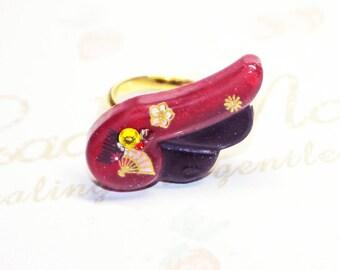 Resin statement rings,ajustable,angel wing cabochon, Japan inspiration, handpainted original design, Gift Idea, kawaii jewelry