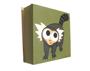 Marmoset Monkey painting - small acrylic art of a cute playful monkey on an olive green background. Nursery artwork on 5 inch square canvas