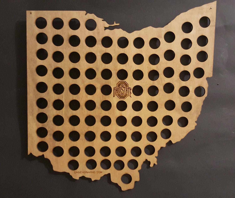 Ohio State Buckeyes Bottle Cap Beer Cap Map Shape Of Ohio