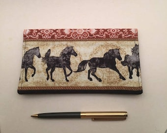Horses Checkbook Cover - Checkbook Cover Duplicate Checks - Fabric Checkbook -  Cash  Envelope - Gift -  L Miller Creations