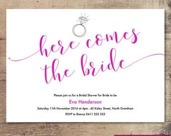 Printable 'Here comes the Bride' Bridal Shower Invitation / Customisable Digital File / JPG or PDF / Pink, Black, White