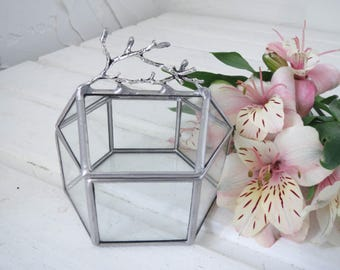 Mini Glass Box / Lidded Glass Ring Bearer Box /Wedding Ring Box / Summer Wedding / Jewelry Box / Ring Pillow Alternative