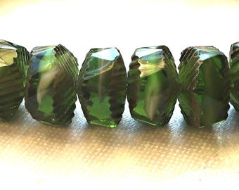 Lot of 6 Czech glass faceted wavy rondelle beads, large 14 x 6mm Emerald Green with white hearts, chunky rondelles, focal beads   C36101