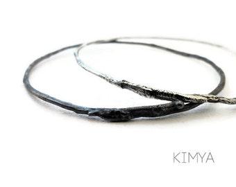 Raw Silver Bangle - Oxidized Silver Bangle - Silver Bangle Bracelet - Contemporary Bangle - Minimalist Organic Bangle - Contemporary Jewelry