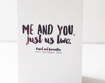 Just Us Two Card - Anniversary Card - Personalised Card - Romantic Card - Engagement Card - Wedding Card - Couples Card