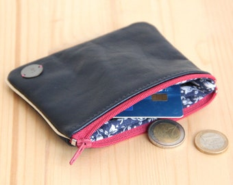 Cardholder in Recycled Navy blue Leather / Old Pink zipper Women Large Wallet / Ocean pouch / Mother day personalize gift / Birthday / PC44