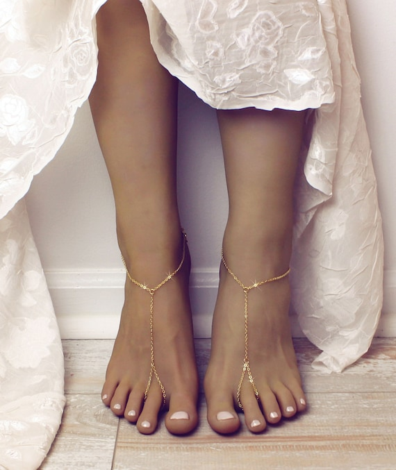 MInimalist Barefoot Sandals Gold Anklet Golden Foot Jewelry