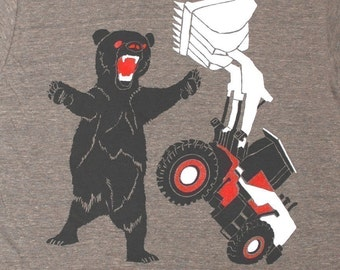 Bear vs Tractor Tee / GNOME ENTERPRISES / athletic coffee / UNISEX SM MD LG XL
