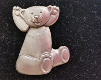 Vintage Pewter Teddy Bear Brooch