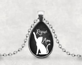 Cat Lover, Cat Mom, Rescue Mom Necklace, Gift For Her Splendant Pendant