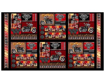 Biker for Life Motorcycle~Cotton Fabric Clothing,Quilt,Quilting Treasures,26177-G, Fast Shipping,N461