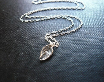 Tiny Silver Leaf Necklace in Sterling Silver - Sweet Mint Leaf