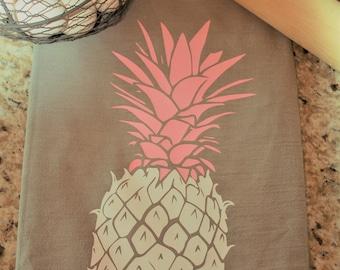 Kitchen Towel, Dish Towel, Flour Sack Towel - Pineapple