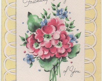 Friendly Thoughts of You card, from a scrapbook, good shape, Used 1940s, Vintage