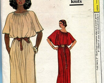 Very Easy Blouson Maxi or Knee Length Dress Sewing Pattern, Vogue 7265, Size Small, Vintage 1980s, UNCUT