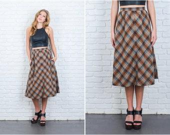 Vintage 70s Brown Mod Retro Skirt High Waist Plaid Striped A Line Wool XS 6369 vintage skirt brown skirt 70s skirt mod skirt plaid skirt