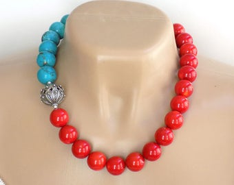 Red Statement Necklace Coral Necklace Gemstone Necklaces for Women Blue Necklace Gift for Her Short Necklace Beaded Necklace Handmade