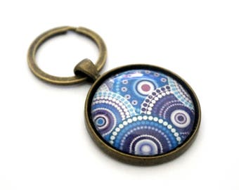 "Bohemian Keyring ""Purple and blue circles"" - vintage and retro"