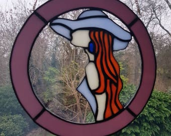 Stained Glass Sophisticated Lady Circle Window decoration Suncatcher