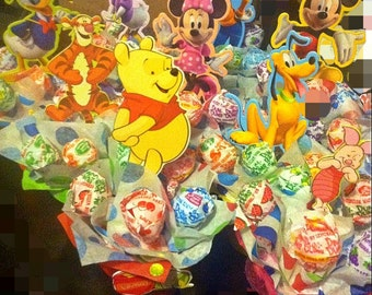 6 Mini Lollipop Favor Mickey,Winnie the Pooh,Sesame Street,Thomas the train