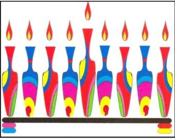 Hannukah Jewish Greeting Card - Colorful Vase Menorah