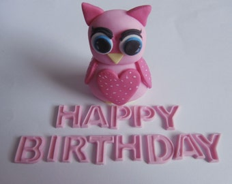 Edible sugar paste owl & happy birthday,cake topper,decoration in any colour,christening,child,boy,girl