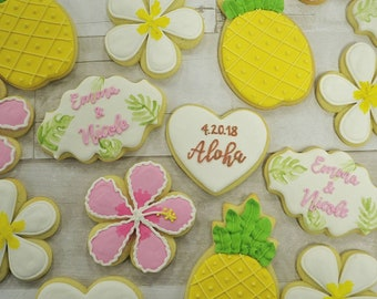 Hawaiian Tropical Bridal Shower Cookies