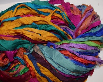 10 yards  Bright multi Recycled Sari Silk Ribbon Yarn, Upcycled, Bulky, Crochet, Knit, Jewelry, Craft, Weave, Silk Ribbon