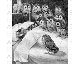 Stunning Louis Wain Cat Illustration Cats Nightmare Owls Stare Cute Rare Black and White Image Digital Download A4 Printable Wall Decor